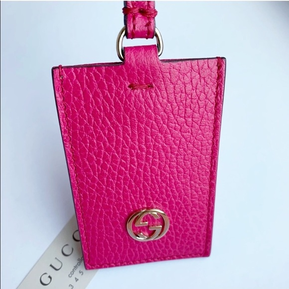 Auth. Gucci Hot Pink New GG Hang Tag / Bag Charm